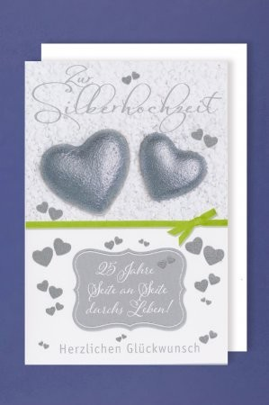 Grußkarte: Zur Silberhochzeit, 25 Jahre Seite an Seite durchs Leben! - silberne Herzen