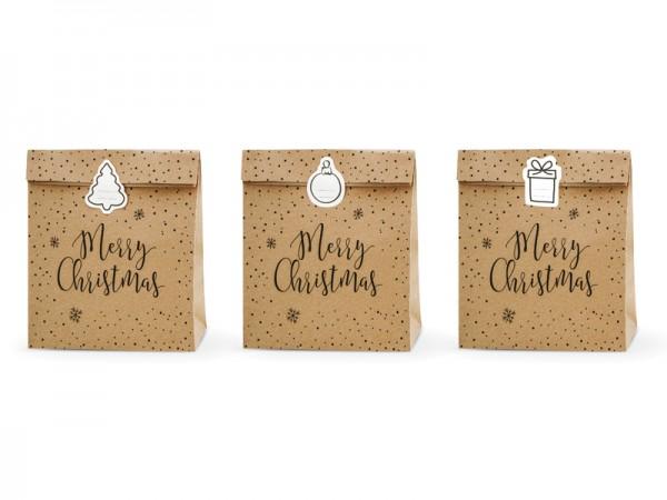 Geschenktaschen Merry Christmas Natur inkl. Aufklebern 25x11x27cm - 3 Stück