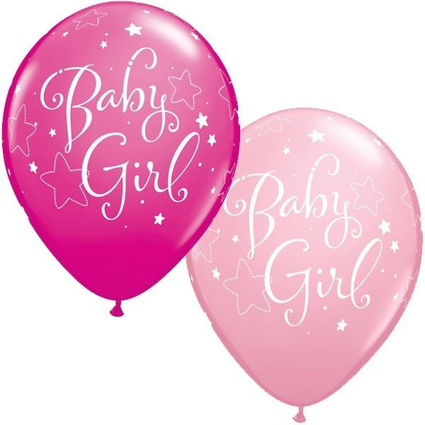 Qualatex Ballons Baby Girl, rosa/pink, ca. 30 cm, 5 Stück