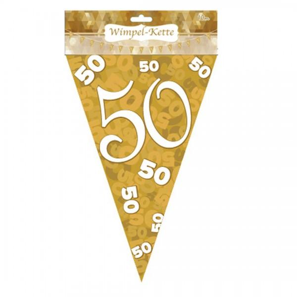 Wimpelkette 50 gold weiß, Kunststoff, ca. 10 Meter