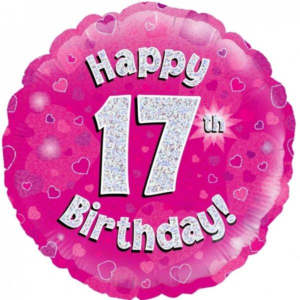 Folienballon Happy 17th Birthday PINK, ca. 45 cm