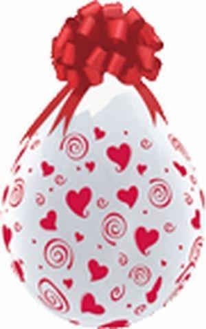 Rote Herzen Verpackungsballons, transparent, Qualatex, ca. 45 cm