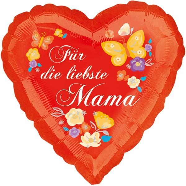 Ballongruß: Herz Für die liebste Mama, ca. 45 cm