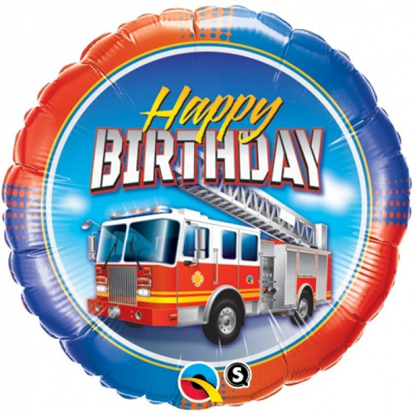 Ballongruß Happy Birthday, Feuerwehr, ca. 45 cm