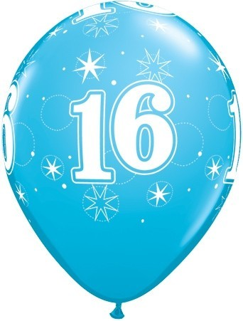 5 Zahlenballons 16 Qualatex, BLAU, ca. 30 cm