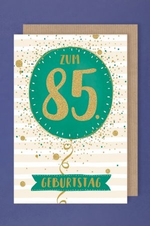 Grußkarte: Zum 85 Geburtstag, grüner Ballon