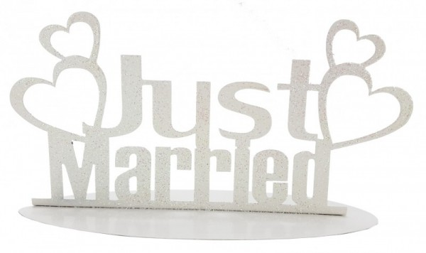 Just married Herzchen, WEISS, Metall, ca. 20 x 11 cm