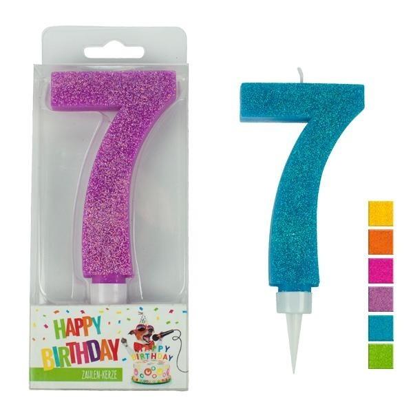 Zahlenkerze 7 Glitter, sortiert, ca. 9 cm