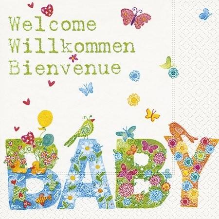 Servietten Welcome Willkommen Bienvenue Baby, ca. 33x33 cm, 20 St.