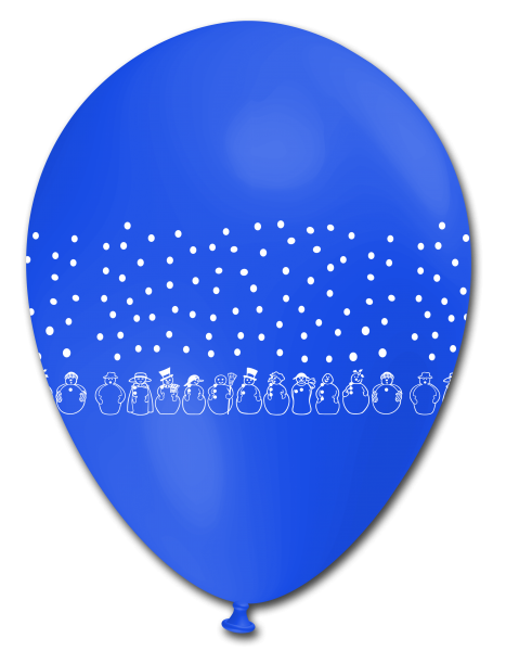 5 Ballons Schneemänner BLAU, ca. 30 cm