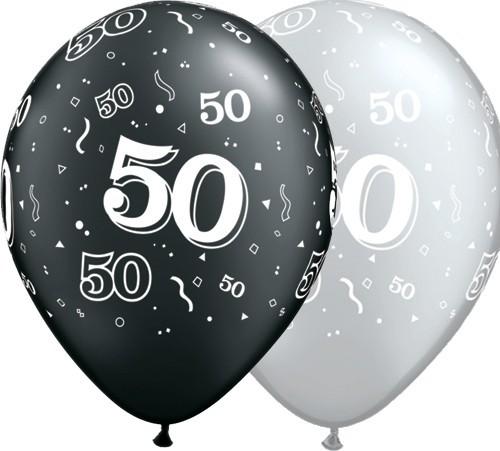 5 Zahlenballons 50 Qualatex, silber/schwarz, ca. 30 cm