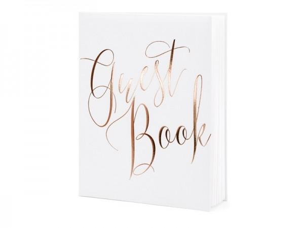 Gästebuch Guest Book, rose gold weiß, ca. 20 x 24,5 cm