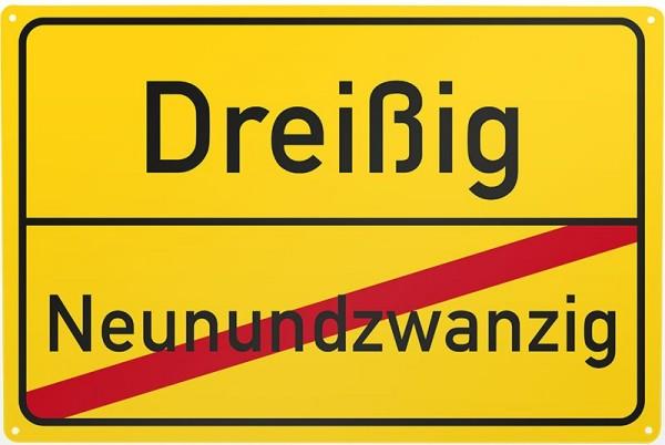 Blechschild Neunundzwanzig / Dreißg, ca. 30 x 20 cm