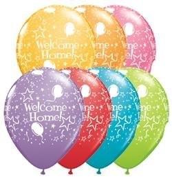 5 Ballons Welcome Home, Qualatex, bunt sortiert, ca. 30 cm