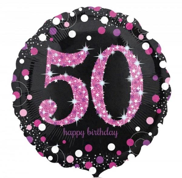 Ballongruß: 50 schwarz/weiß/pink, ca. 45 cm