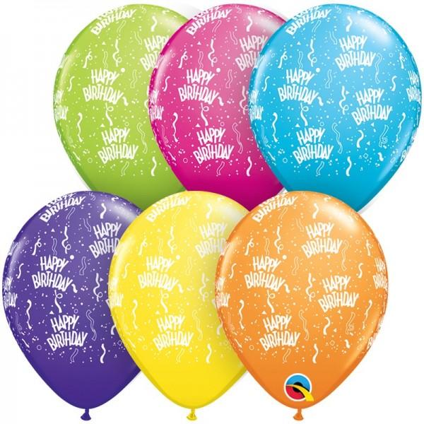 Ballons Happy Birthday, Qualatex, ca. 30 cm, 6 St.