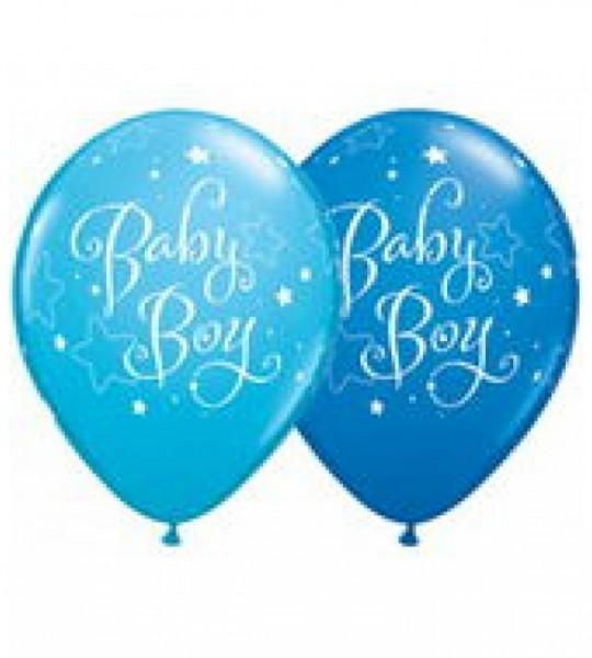Qualatex Ballons Baby Boy, hellblau/dunkelblau, ca. 30 cm, 5 Stück