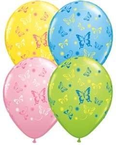 Ballons Schmetterlinge, Qualatex, bunt sortiert ca. 30 cm, 10 St.