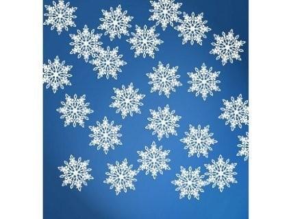 Streudeko Schneeflocken weiß, filigran ausgestanzt, ca. 3,1x3,6 cm, 20 St.