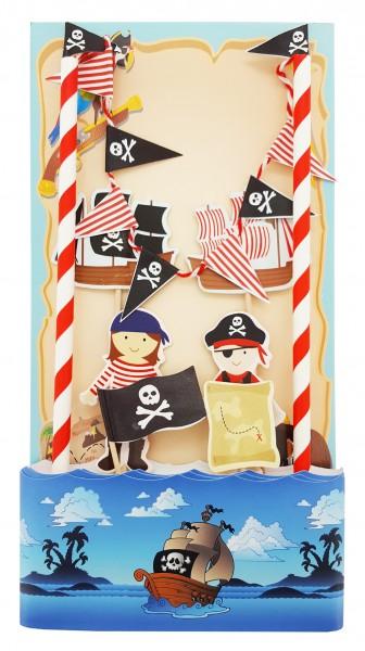 Cake Topper Tortendeko Pirat, 7 Teile