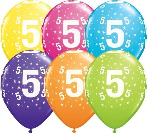 Zahlenballons 5, Qualatex, ca. 30 cm, 6 St.
