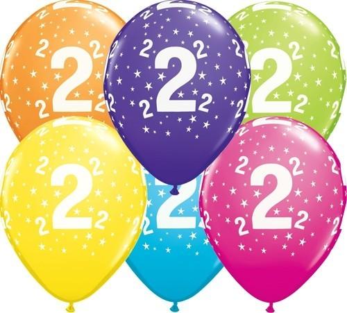 Zahlenballons 2, Qualatex, ca. 30 cm, 6 St.