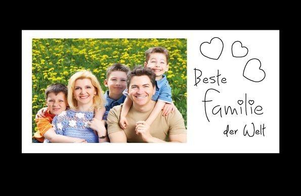 Bilderrahmen Beste Familie der Welt, ca. 25 x 12 cm, Holz WEIß