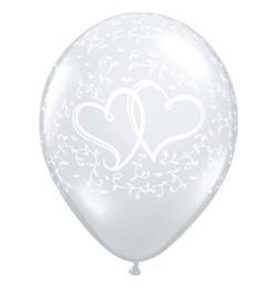 5 Ballons Doppelherz, Qualatex, ca. 30 cm