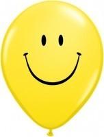 10 Ballons Happy Face Qualatex, gelb, ca. 30 cm