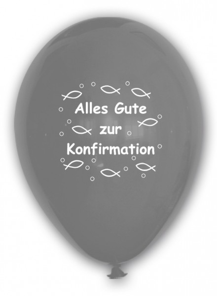 10 Ballons Alles Gute zur Konfirmation, SILBER, ca. 30 cm