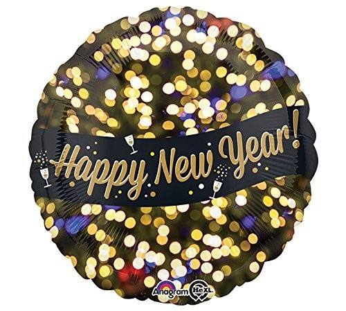 Folienballon Happy New Year, Celebration, schwarz/gold, ca. 45 cm