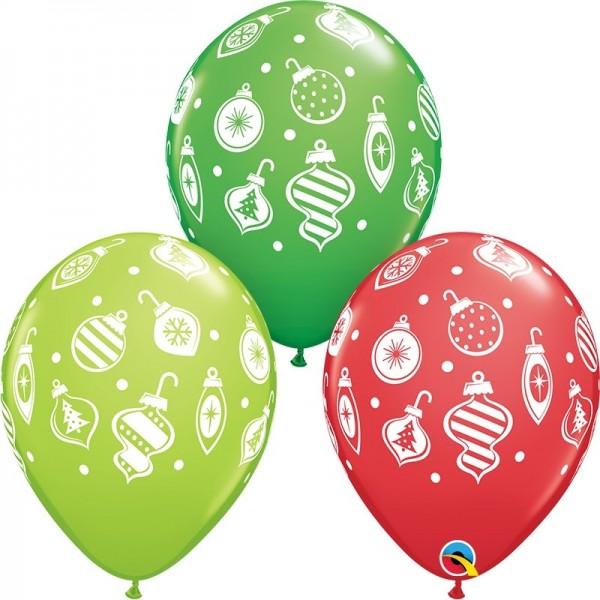 5 Ballons Tannenbaumkugeln rot/grün/hellgrün, Qualatex, ca. 30 cm