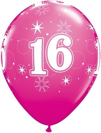 5 Zahlenballons 16 Qualatex, PINK, ca. 30 cm