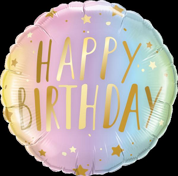 Folienballon Happy Birthday, Ombre, ca. 45 cm