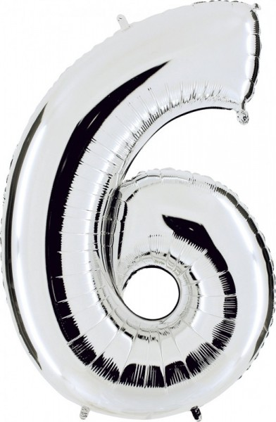 Ballongruß: Riesenzahl 6 SILBER, ca. 63 cm