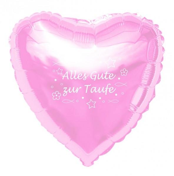 Folienherz Alles Gute zur Taufe, rosa, ca. 45 cm