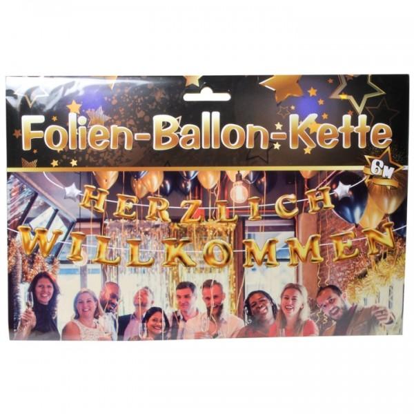 Folienballons Herzlich Willkommen, gold, nur Luftbefüllung, ca. 35cm, 20 Ballons