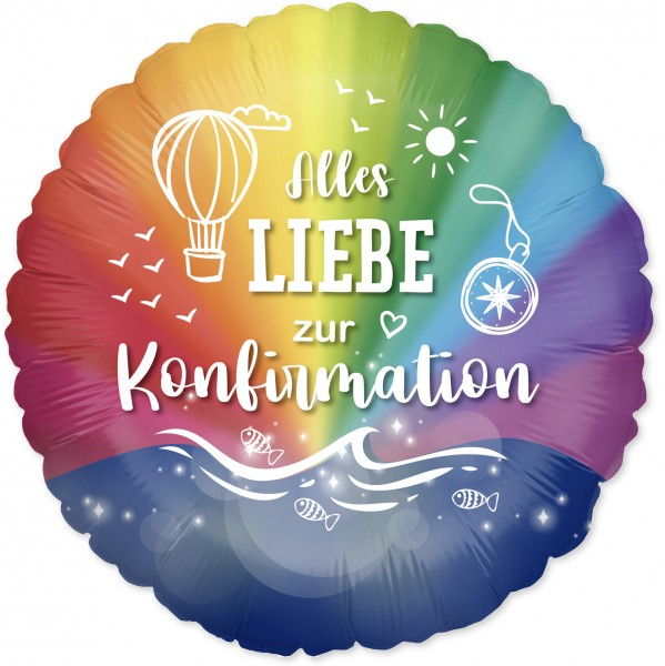 Ballongruß: Alles Liebe zur Konfirmation, Regenbogenfarben, ca. 45 cm