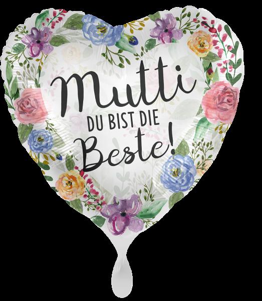 Folienherz Mutti Du bist die Beste, Blumen, ca. 45 cm