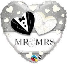 Ballongruß: Herz Mr. & Mrs., Herzchen, ca. 45 cm