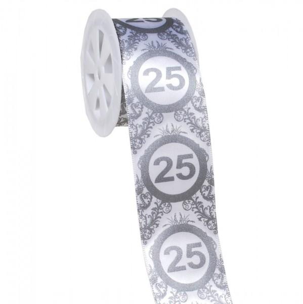 Geschenkband 25 silber/weiß, 4 cm x 3 Meter