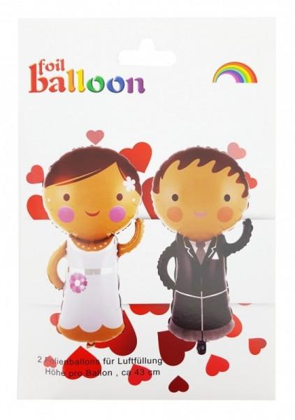 Folienballons Brautpaar, ca. 43 cm, für Luftbefüllung
