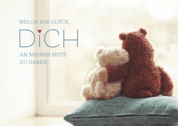 Postkarte Welch ein Glück DICH an meiner Seite zu haben - Teddys, ca. 15x10 cm