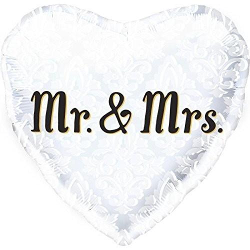 Folien-Herz Mr & Mrs, weiß Ornamente, ca. 45 cm