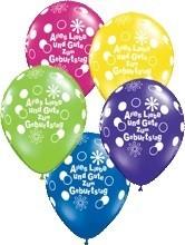 5 Ballons Alles Liebe und Gute zum Geburtstag, bunt gemischt, Qualatex, ca. 30 cm
