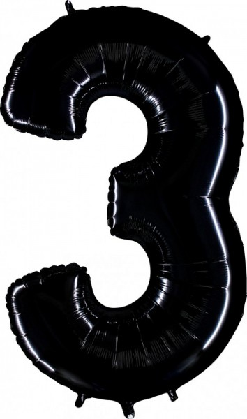 Folienballon Zahl 3, ca. 100 cm, schwarz