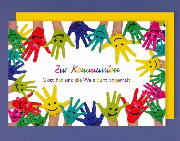 Grußkarte: Zur Kommunion - viele bunte Hände