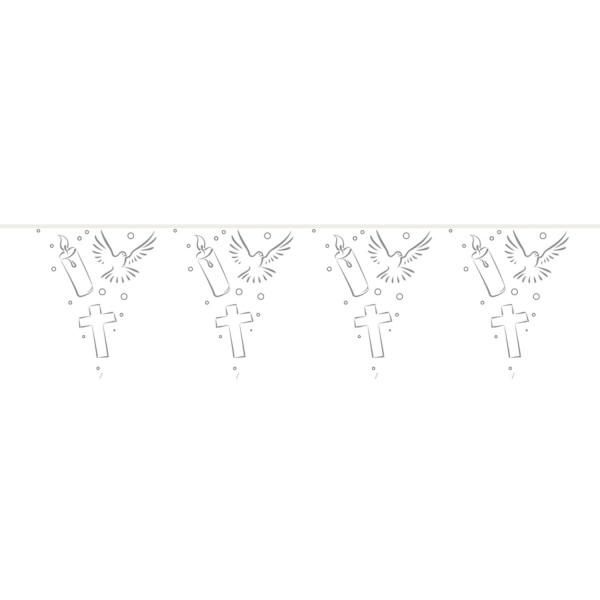 Wimpelkette Kerze Kreuz Taube, ca. 10 Meter