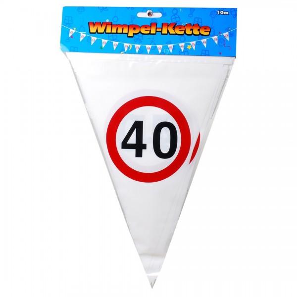 Wimpelkette 40 Verkehrsschilder, 10 Meter