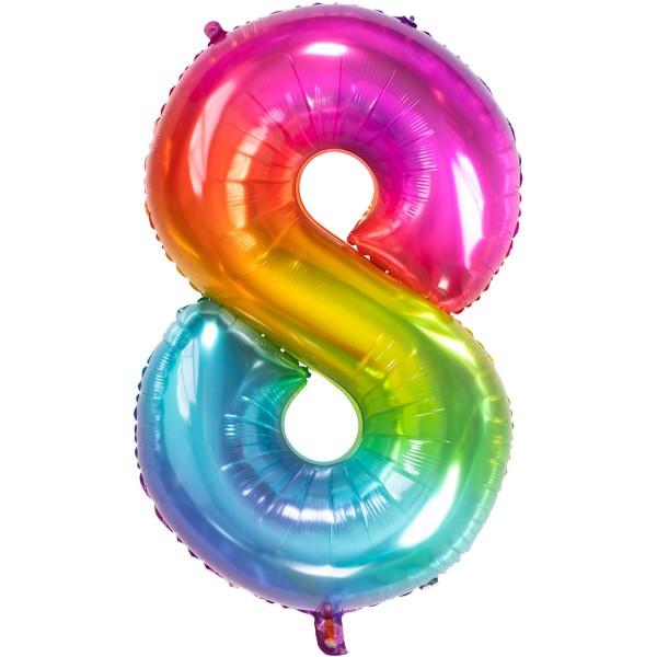 Folienballon Zahl 8, ca. 86 cm, Yummy Gummy